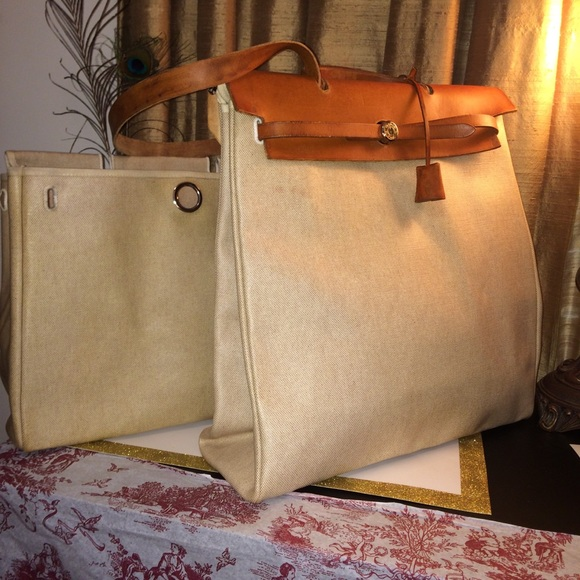 9b1e1742a92d Hermes Herbag MM 2-In-1 Orange Leather Toile